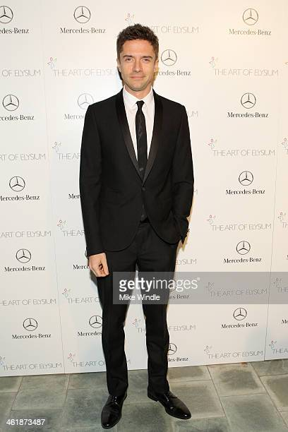 Actor Topher Grace attends The Art of Elysium's 7th Annual HEAVEN Gala presented by MercedesBenz at Skirball Cultural Center on January 11 2014 in...