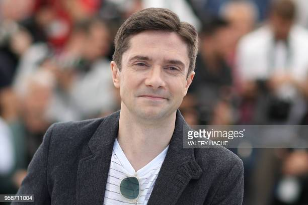 US actor Topher Grace poses on May 15 2018 during a photocall for the film BlacKkKlansman at the 71st edition of the Cannes Film Festival in Cannes...