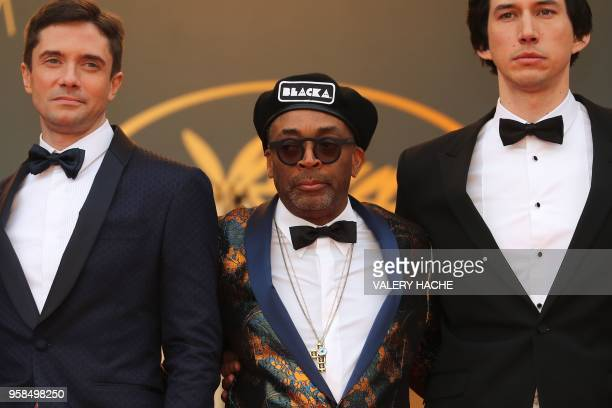 US actor Topher Grace US director Spike Lee and US actor Adam Driver pose as they arrive on May 14 2018 for the screening of the film...