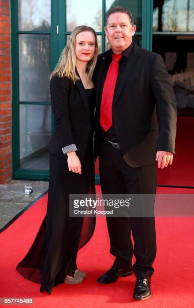 Actor Torsten Toto Heim poses with daughter Sophia during the Steiger Award on at Coal Mine Hansemann 'Alte Kaue' March 25 2017 in Dortmund Germany