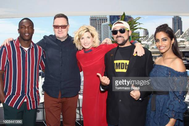 Actor Tosin Cole writer Chris Chibnall actor Jodie Whittaker host Kevin Smith and actor Mandip Gill attend the #IMDboat At San Diego ComicCon 2018...