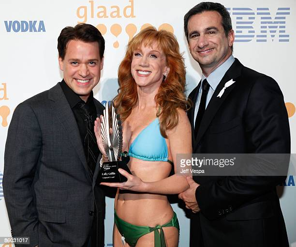 Actor TR Knight comedian Kathy Griffin and GLAAD President Neil Giuliano backstage at the 20th Annual GLAAD Media Awards held at NOKIA Theatre LA...