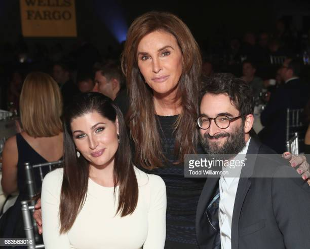Actor Trace Lysette tv personality Caitlyn Jenner and actor Jay Duplass attend the 28th Annual GLAAD Media Awards in LA at The Beverly Hilton Hotel...