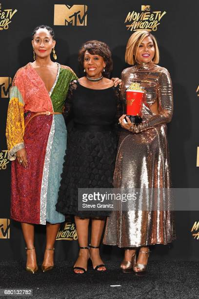 Actor Tracee Ellis Ross, Congresswoman Maxine Waters and actor Taraji P. Henson, winner of Best Fight Against the System for 'Hidden Figures', pose...