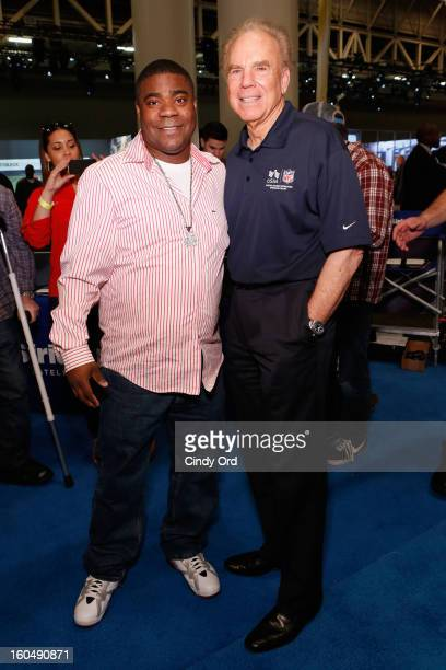 Actor Tracey Morgan and Former Dallas Cowboys quarterback Roger Staubach attend SiriusXM's Live Broadcast from Radio Row during Bowl XLVII week on...