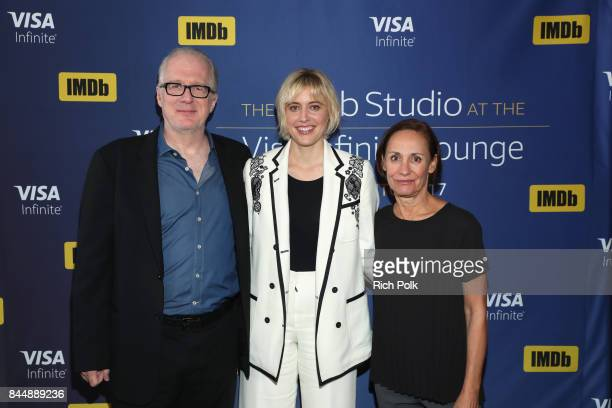 Actor Tracy Letts director Greta Gerwig and actress Laurie Metcalf of 'Lady Bird' attend The IMDb Studio Hosted By The Visa Infinite Lounge at The...