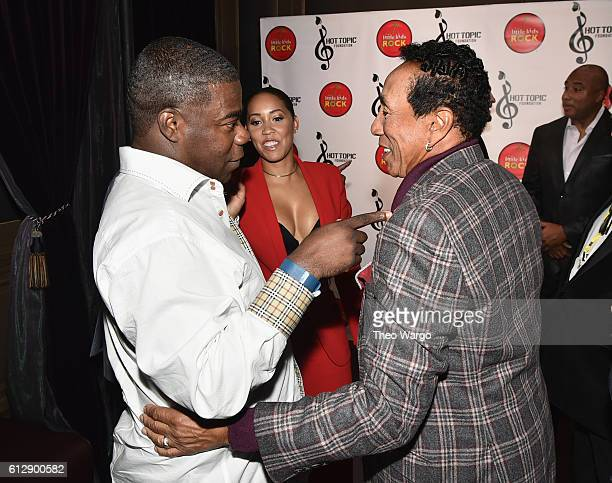 Actor Tracy Morgan actor Megan Wollover and singersongwriter Smokey Robinson speak backstage during Little Kids Rock Benefit 2016 at Capitale on...