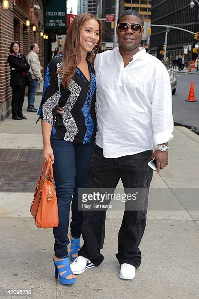Actor Tracy Morgan and fiancee Megan Wollover enter the 'Late Show With David Letterman' taping at the Ed Sullivan Theater on March 29 2012 in New...