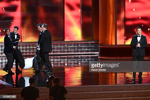 Actor Tracy Morgan and host Jimmy Kimmel onstage during the 64th Annual Primetime Emmy Awards at Nokia Theatre LA Live on September 23 2012 in Los...