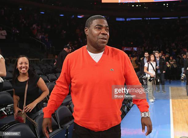 Actor Tracy Morgan leaves Madison Square Garden following the game between the New York Knicks and the Indiana Pacers on November 18 2012 in New York...
