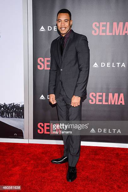 Actor Trai Byers enters the Selma New York Premiere at the Ziegfeld Theater on December 14 2014 in New York City