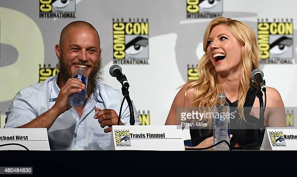 Actor Travis Fimmel and actress Katheryn Winnick attend a panel for the History series 'Vikings' during ComicCon International 2015 at the San Diego...