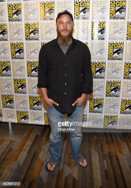 Actor Travis Fimmel attends a media room for the History series 'Vikings' during ComicCon 2014 at the Hilton San Diego Bayfront hotel on July 25 2014...