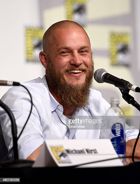 Actor Travis Fimmel attends a panel for the History series 'Vikings' during ComicCon International 2015 at the San Diego Convention Center on July 10...