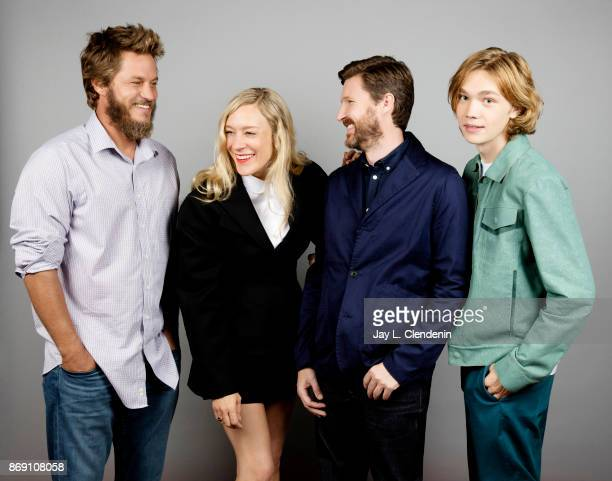 Actor Travis Fimmel director Andrew Haigh actress Chloe Sevigny and actor Charlie Plummer from the film 'Lean on Pete' pose for a portrait at the...