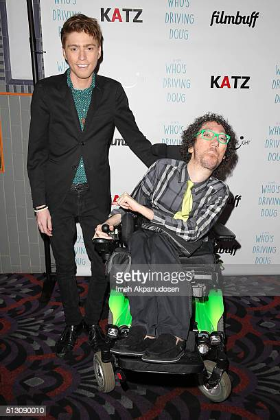 Actor Travis Flores and writer Michael Carnick attend the premiere of FilmBuff's 'Who's Driving Doug' at Los Feliz 3 Cinemas on February 26 2016 in...