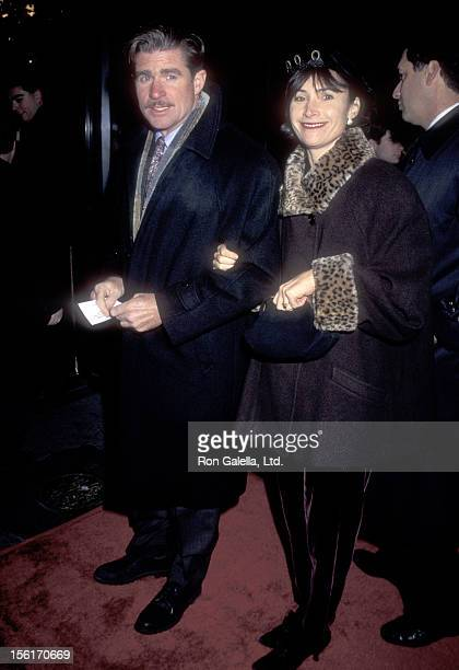 Actor Treat Williams and wife Pam Van Sant attend the 'Restoration' New York City Premiere on December 10 1995 at Ziegfeld Theater in New York City...