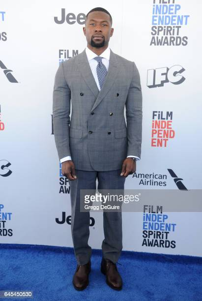 Actor Trevante Rhodes arrives at the 2017 Film Independent Spirit Awards on February 25 2017 in Santa Monica California