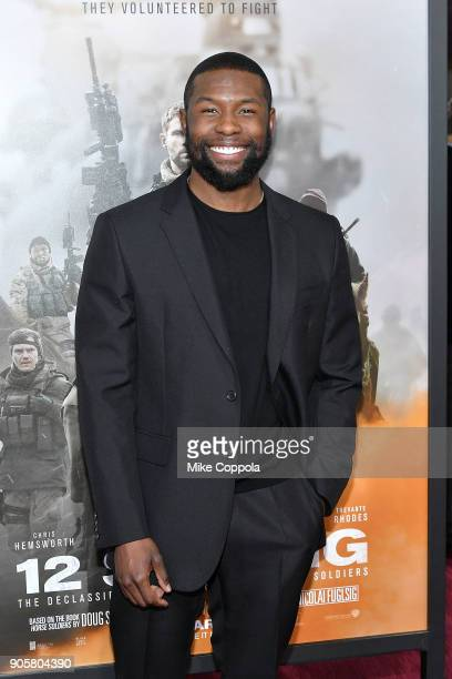 "Actor Trevante Rhodes attends the ""12 Strong"" World Premiere at Jazz at Lincoln Center on January 16, 2018 in New York City."