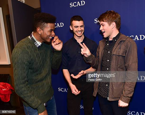 Actor Trevor Jackson actor Joey Pollari and actor Connor Jessup attend 'American Crime' event during aTVfest 2016 presented by SCAD on February 5...