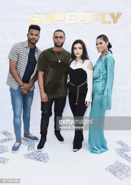 Actor Trevor Jackson Director X and actors Andrea Londo and Lex Scott Davis arrive at a special screening of 'SuperFly' hosted by Sony Pictures...