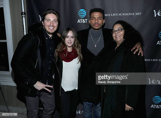 Actor Trevor Jackson poses with guests during DIRECTV Verge 5th Anniversary Sundance Party 2017 at Audience at The Cafe on January 21, 2017 in Park...