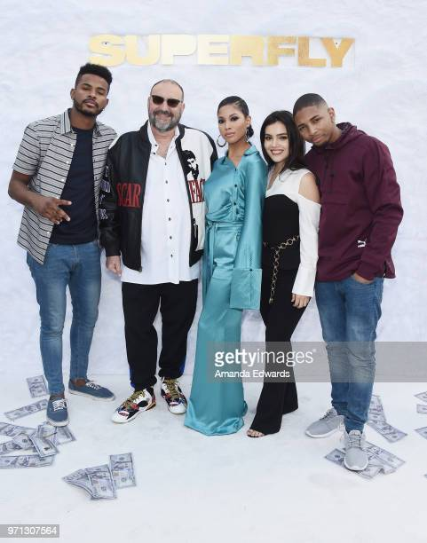 Actor Trevor Jackson producer Joel Silver and actors Lex Scott Davis Andrea Londo and Kaalan 'KR' Walker arrive at a special screening of 'SuperFly'...