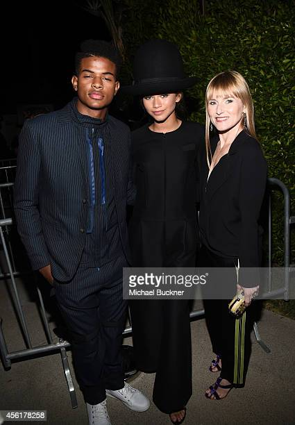 Actor Trevor Jackson singer/actress Zendaya and Teen Vogue Editor in Chief Amy Astley attend the 12th Annual Teen Vogue Young Hollywood Party with...