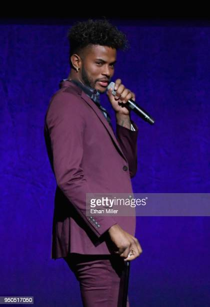 Actor Trevor Jackson speaks onstage during the CinemaCon 2018 Gala Opening Night Event Sony Pictures Highlights its 2018 Summer and Beyond Films at...