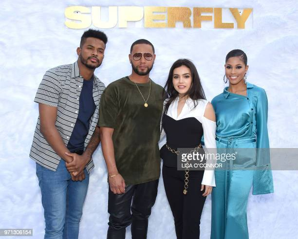 US actor Trevor Jackson Us actress Lex Scott Davis Canadian director X and Mexican actress Andrea Londo attend the 'Superfly' Special Screening in...