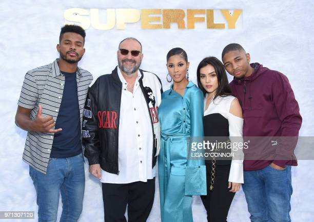 US actor Trevor Jackson US producer Joel Silver US actress Lex Scott Davis Mexican actress Andrea Londo and US singer and actor Kaalan Walker attend...