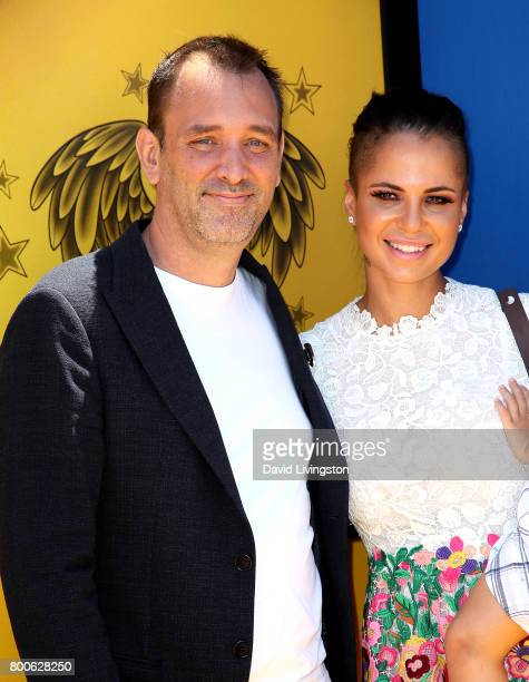 """Actor Trey Parker and Boogie Tillmon attend the premiere of Universal Pictures and Illumination Entertainment's """"Despicable Me 3"""" at The Shrine..."""