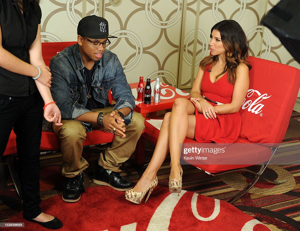 Actor Tristan Wilds (L) and TV personality Adrianna Costa speak during the 40th Anniversary American Music Awards nominations press conference at the JW Marriott Los Angeles at L.A. LIVE on October 9, 2012 in Los Angeles, California.