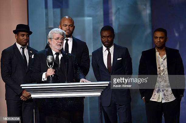Actor Tristan Wilds director George Lucas and actors Anthony Hemingway David Oyelowo and Kevin Phillips onstage during the 44th NAACP Image Awards at...
