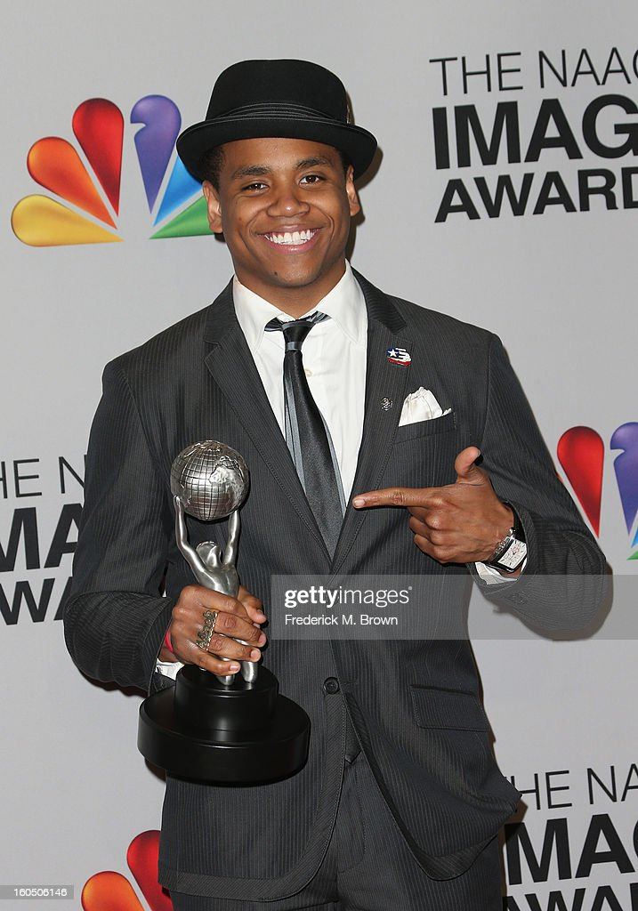 Actor Tristan Wilds of Outstanding Motion Picture winner 'Red Tails' poses in the press room during the 44th NAACP Image Awards at The Shrine Auditorium on February 1, 2013 in Los Angeles, California.