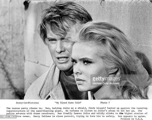 Actor Troy Donahue and actress Joey Heatherton on set of the Warner Bros movie My Blood Runs Cold in 1965