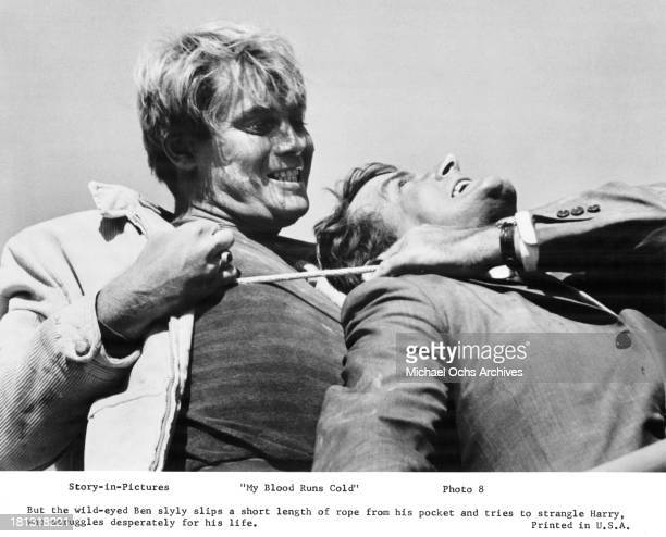 Actor Troy Donahue on set of the Warner Bros movie My Blood Runs Cold in 1965