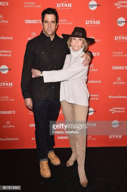 Actor Troy Garity and Actress Jane Fonda are interviewed at the 'Jane Fonda In Five Acts' Premiere during the 2018 Sundance Film Festival at The Marc...