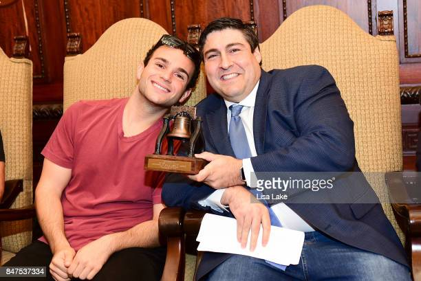 Actor Troy Gentile and Producer Adam F Goldberg sit together during an event honoring Adam F Goldberg at Philadelphia City Hall on September 15 2017...