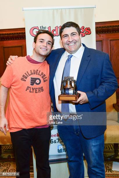 Actor Troy Gentile poses with Producer Adam F Goldberg during an event honoring Goldberg at Philadelphia City Hall on September 15 2017 in...