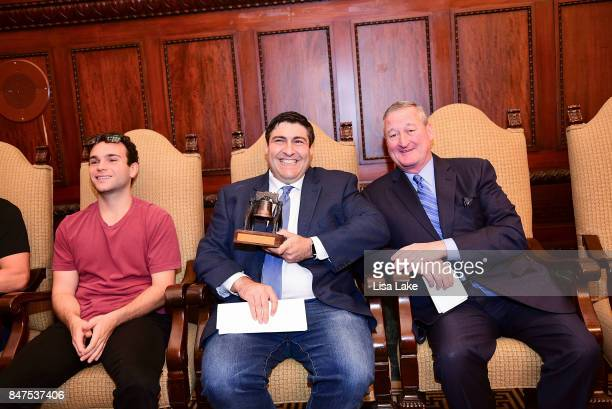 Actor Troy Gentile Producer Adam F Goldberg and Philadelphia Mayor Jim Kenney sit together during an event honoring Adam F Goldberg at Philadelphia...