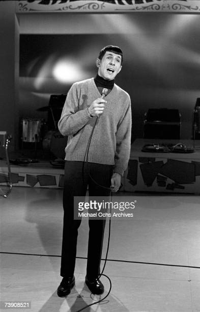 """Actor turned singer Leonard Nimoy performs on """"The Dick Clark Show"""" on January 2, 1968 in Los Angeles, California."""