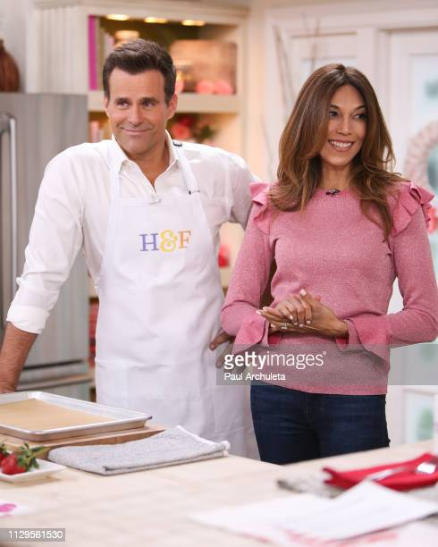 Actor / TV Host Cameron Mathison and his Wife Vanessa Arevalo on the set of Hallmark's Home Family at Universal Studios Hollywood on February 13 2019...