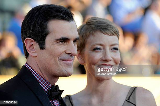 Actor TY Burrell and Holly Burrell arrive at The 18th Annual Screen Actors Guild Awards broadcast on TNT/TBS at The Shrine Auditorium on January 29...