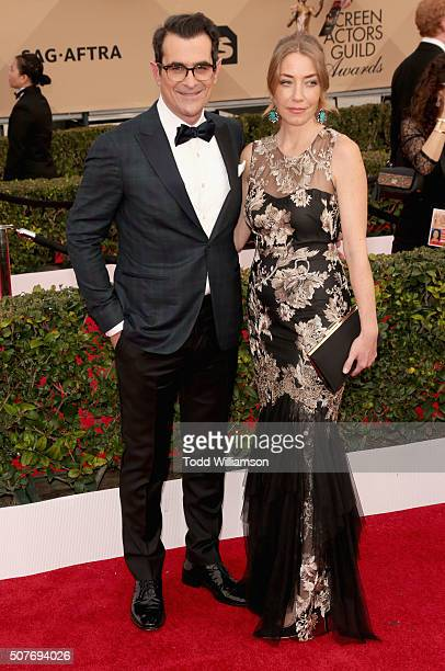 Actor Ty Burrell and Holly Burrell attend the 22nd Annual Screen Actors Guild Awards at The Shrine Auditorium on January 30 2016 in Los Angeles...
