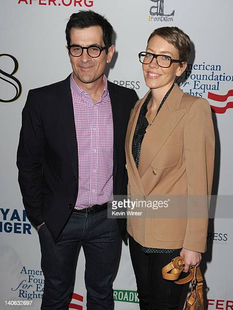 Actor Ty Burrell and Holly Burrell attend the onenight reading of 8 presented by The American Foundation For Equal Rights Broadway Impact at The...