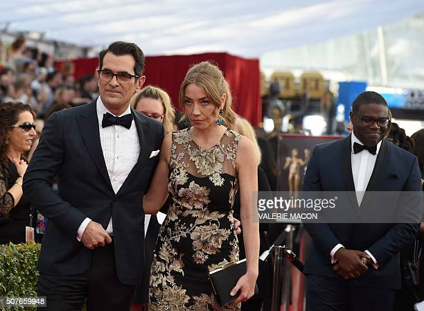 Actor Ty Burrell and wife Holly arrive at the 22nd Annual Screen Actors Guild Awards at the Shrine Auditorium in Los Angeles California in January 30...