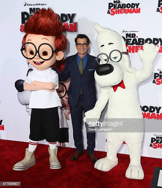 Actor Ty Burrell poses with Sherman and Mr Peabody at the premiere of Twentieth Century Fox and DreamWorks Animation's Mr Peabody Sherman at the...