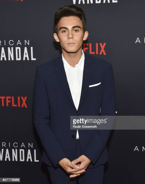 Actor Tyler Alvarez attends the premiere of Netflix's American Vandal at ArcLight Hollywood on September 14 2017 in Hollywood California