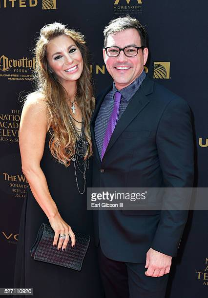 Actor Tyler Christopher and guest walk the red carpet at the 43rd Annual Daytime Emmy Awards at the Westin Bonaventure Hotel on May 1 2016 in Los...